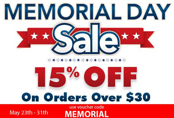 Memorial Day Sale 15% off all orders of $30 or more