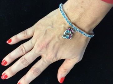 Bracelet - Crystal with Foot Charm