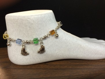 Anklet - with dangly foot shaped charm